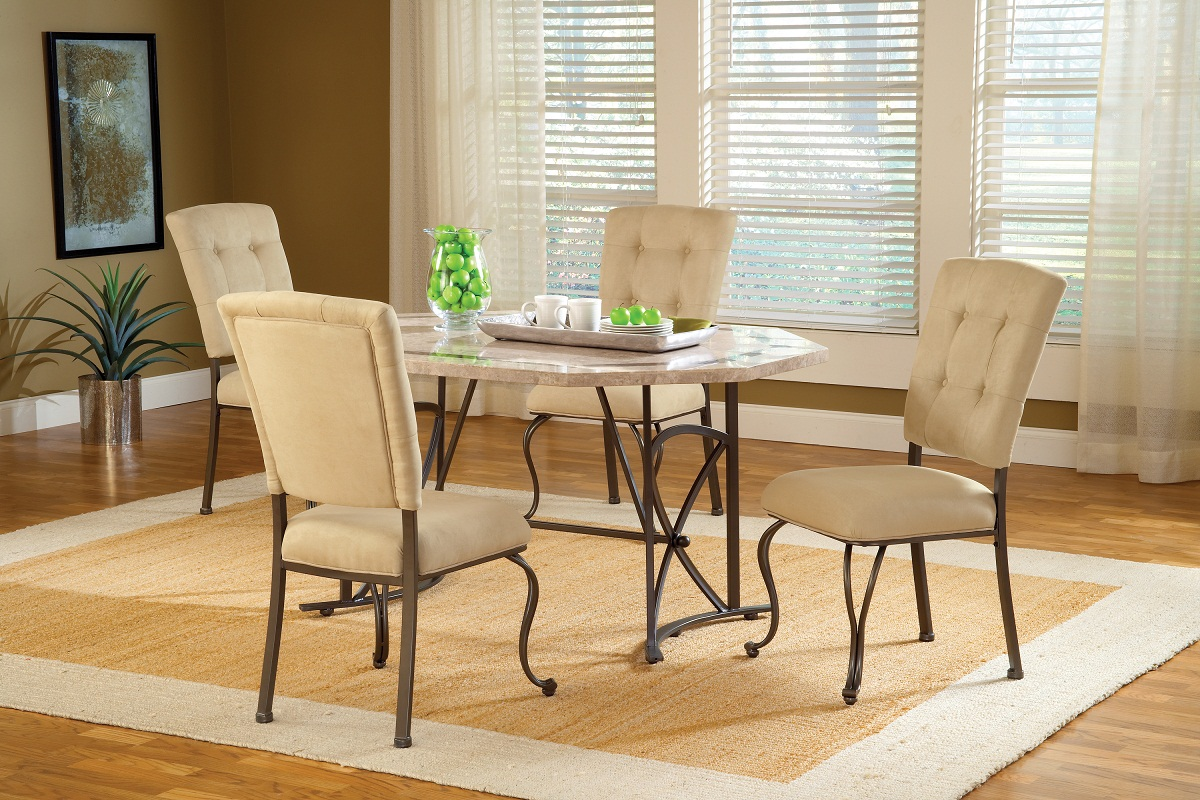 Hillsdale Harbour Point 5Pc Octagon Dining Set with Parson Chair - Golden Bronze