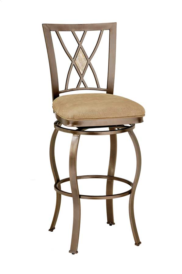 Hillsdale Brookside Diamond Fossil Back Metal Swivel Counter Stool