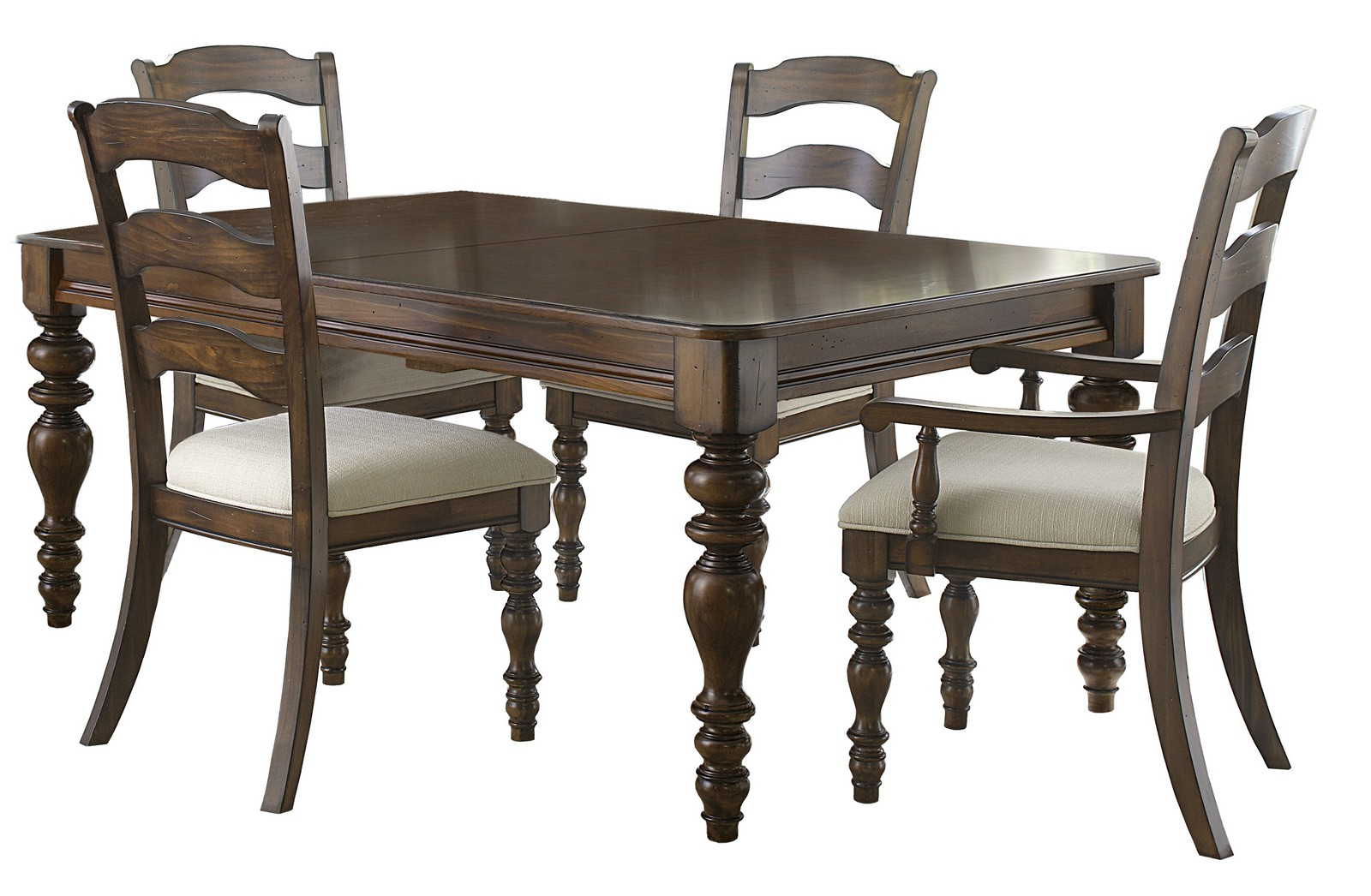 Hillsdale Pine Island 5 Pc Dining Set with Ladder Back Side Chairs - Dark Pine