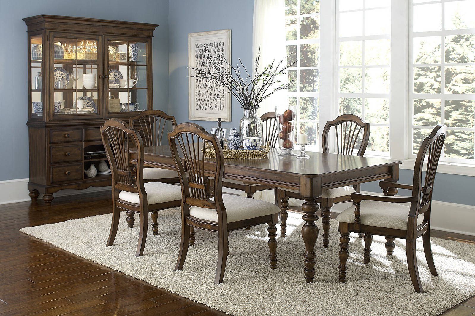 Hillsdale Pine Island 7 PC Dining Set with Wheat Back Side Chairs and Arm Chairs - Dark Pine