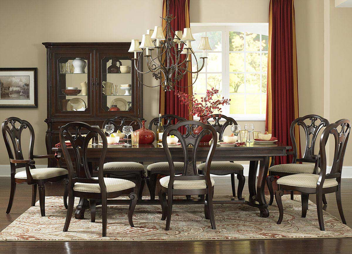 Hillsdale Grandover 9 Piece Dining Set with Large Extension Table - Dark Cherry