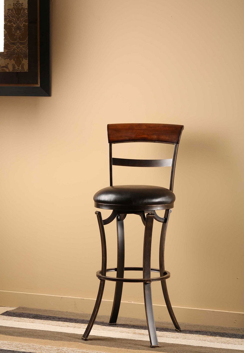 Hillsdale Kennedy Swivel Counter Stool with Cherry Finished Panel Top - Black/Gold