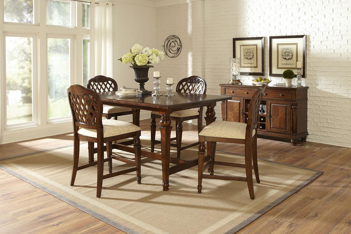 Hillsdale Woodridge 5 Piece Counter Height Dining Set - Walnut