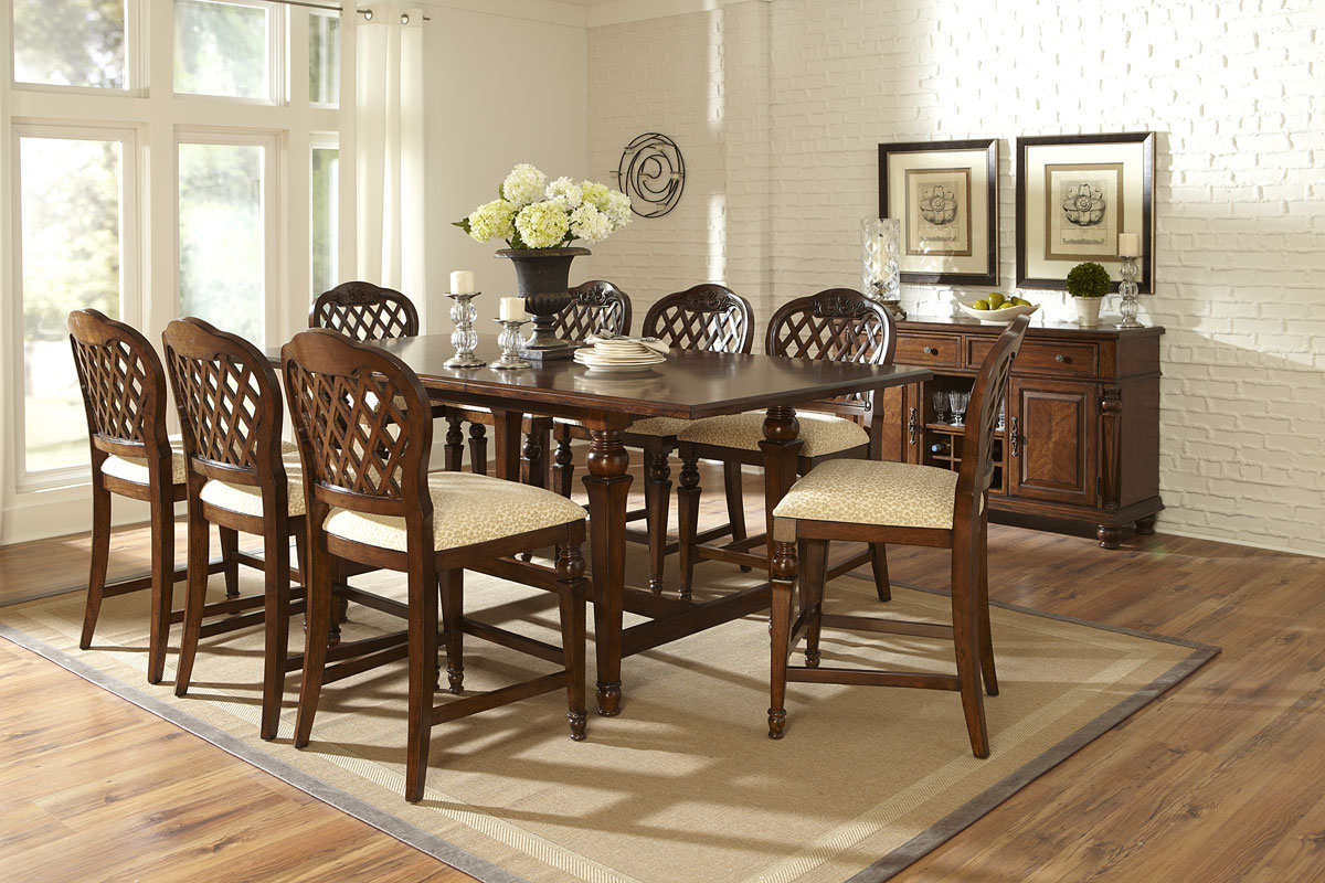 Hillsdale Woodridge 9 Piece Counter Height Dining Set - Walnut