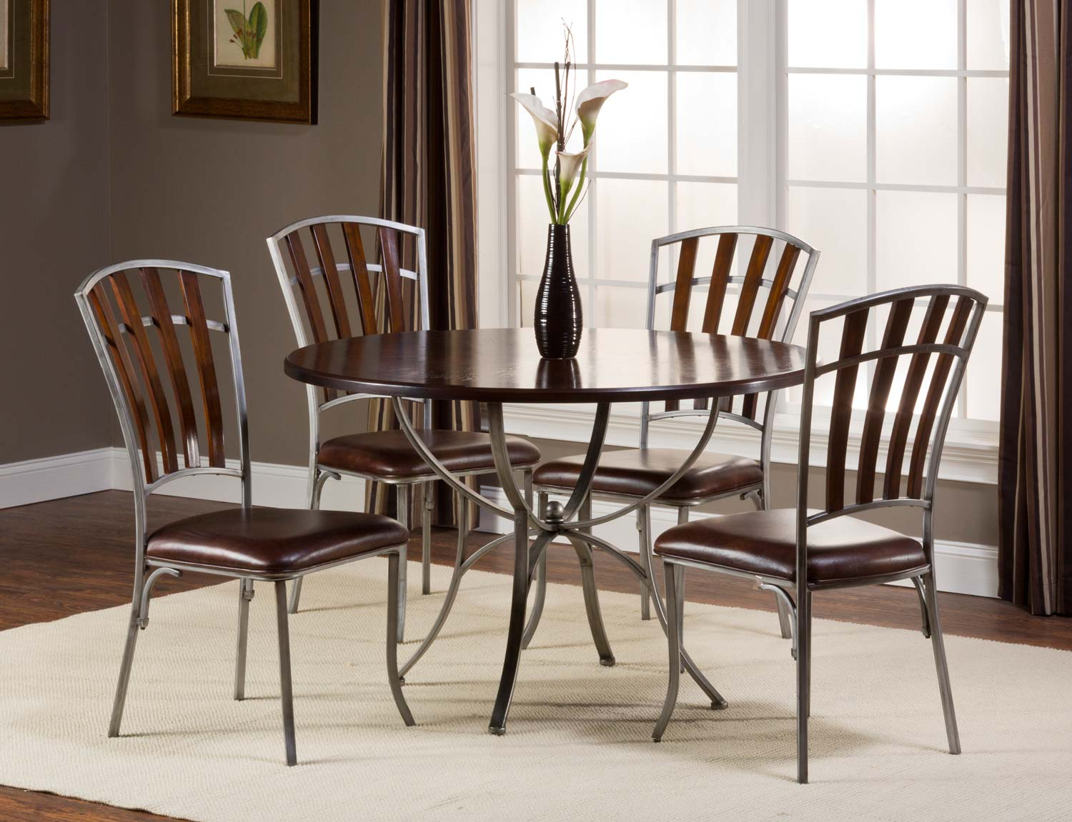 Hillsdale Sarasota Round Dining Set - Dark Walnut