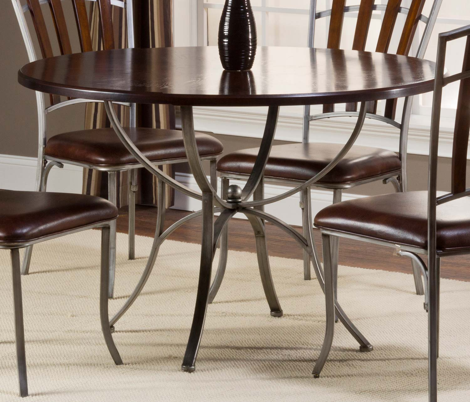 Hillsdale Sarasota Round Dining Table - Dark Walnut