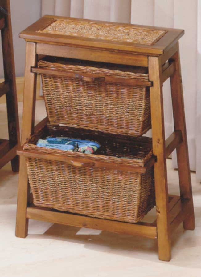 Cheap Hillsdale Furniture Triangle Seagrass with Wicker 2-basket Stand – Walnut