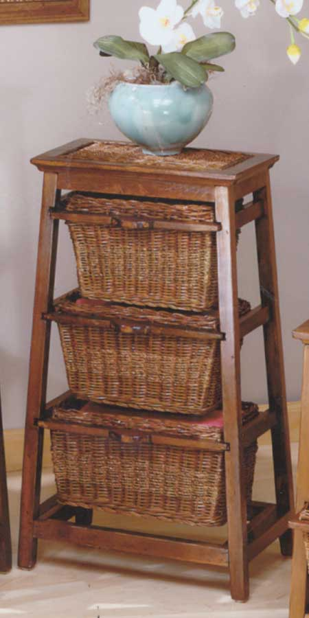 Cheap Hillsdale Furniture Triangle Seagrass with Wicker 3-basket Stand – Walnut