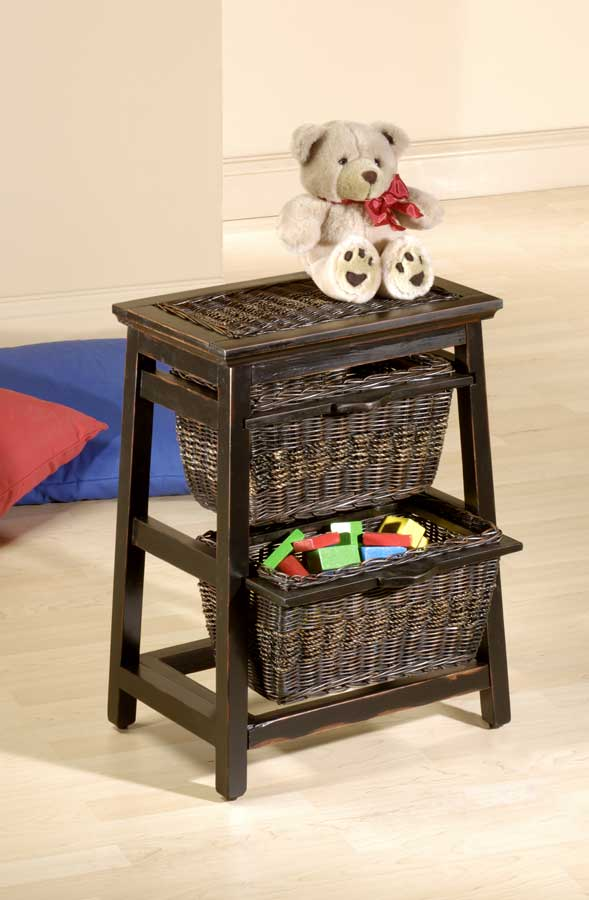 Cheap Hillsdale Furniture Triangle Wood and Wicker 2-basket Stand – Black