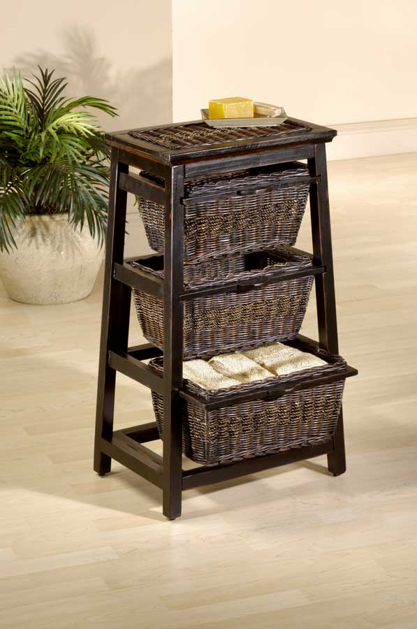 Cheap Hillsdale Furniture Triangle Wood and Wicker 3-basket Stand – Black