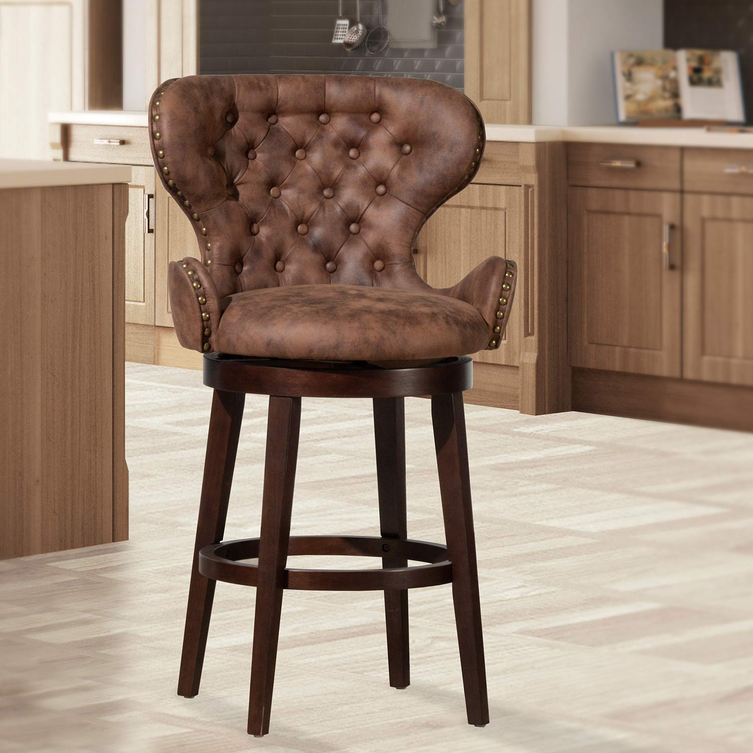 Hillsdale Mid-City Wood and Upholstered Swivel Bar Height Stool - Chocolate