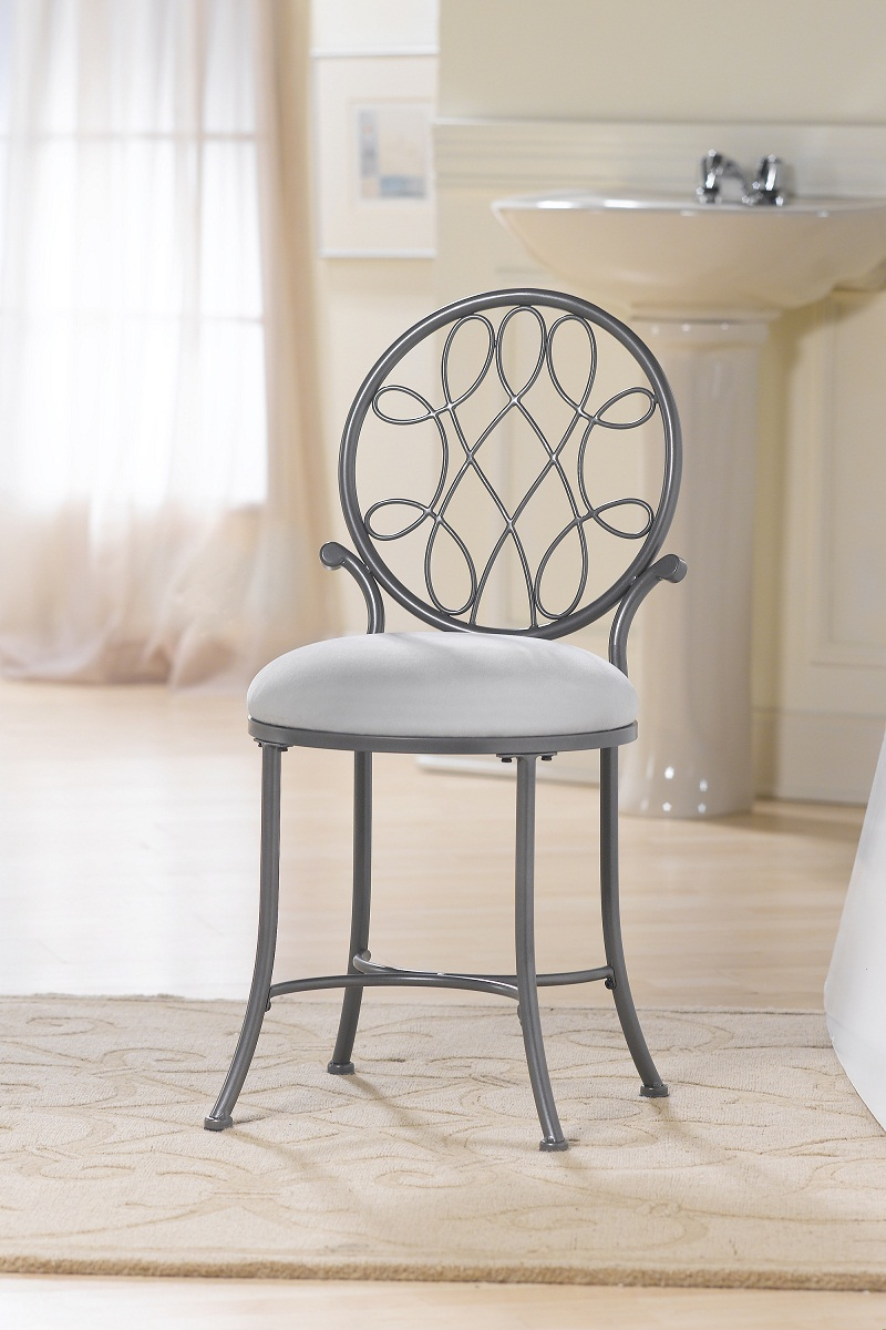 Hillsdale O'Malley Vanity Stool - Gray