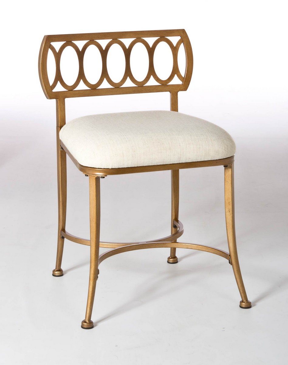 Hillsdale Canal Street Vanity Stool - Gold Bronze