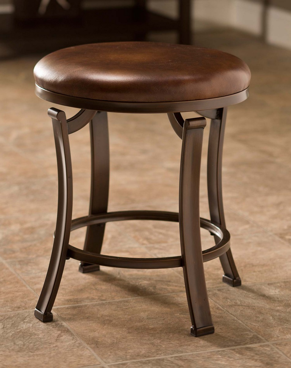 Hillsdale Hastings Backless Vanity Stool - Antique Bronze