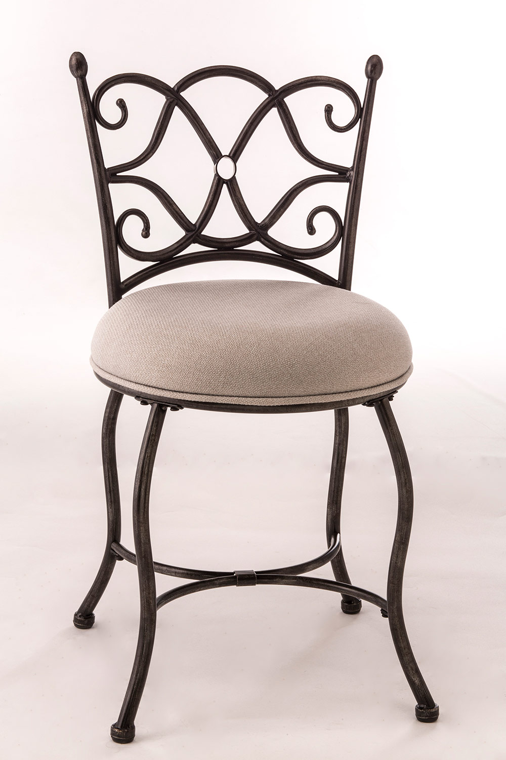 Hillsdale Brody Vanity Stool - Gray with Rubbed Black