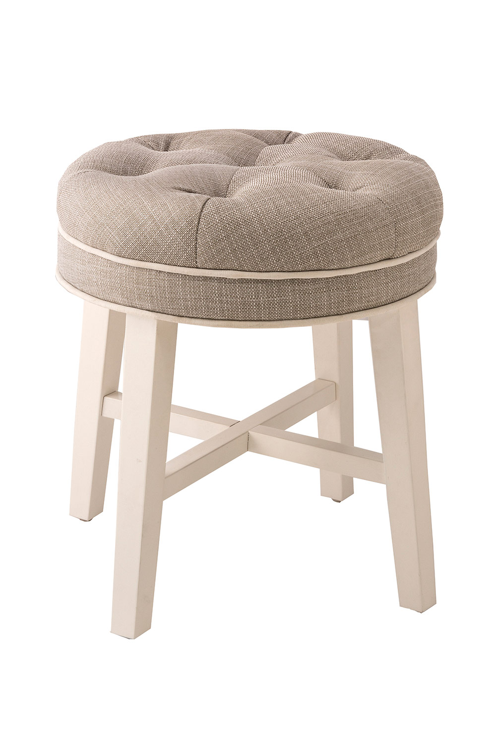 Hillsdale Sophia Vanity Stool with Linen Gray Fabric - White