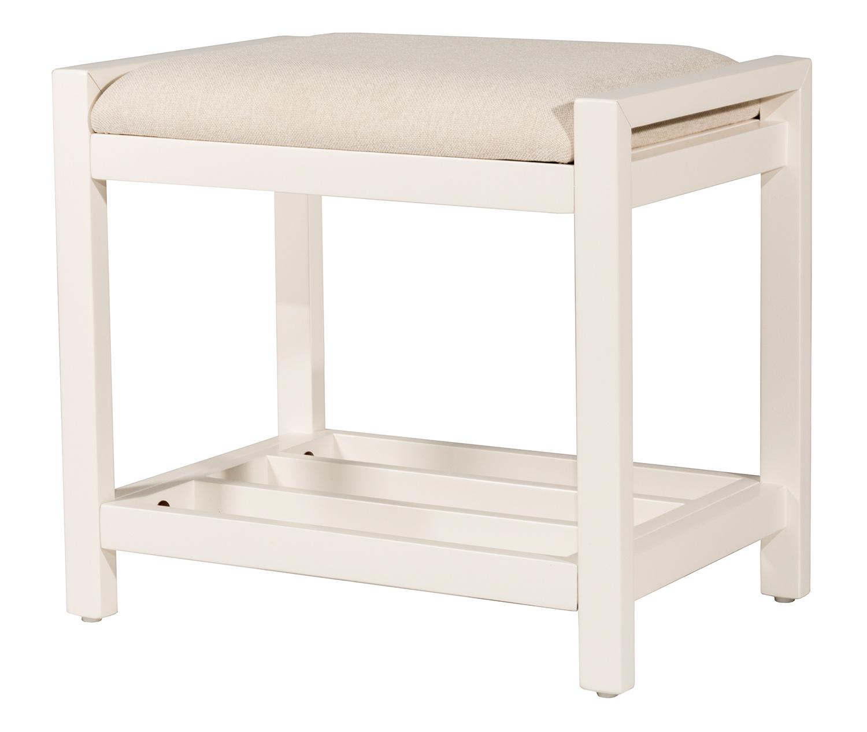 Hillsdale Amelia Vanity Stool - White - Ecru Fabric