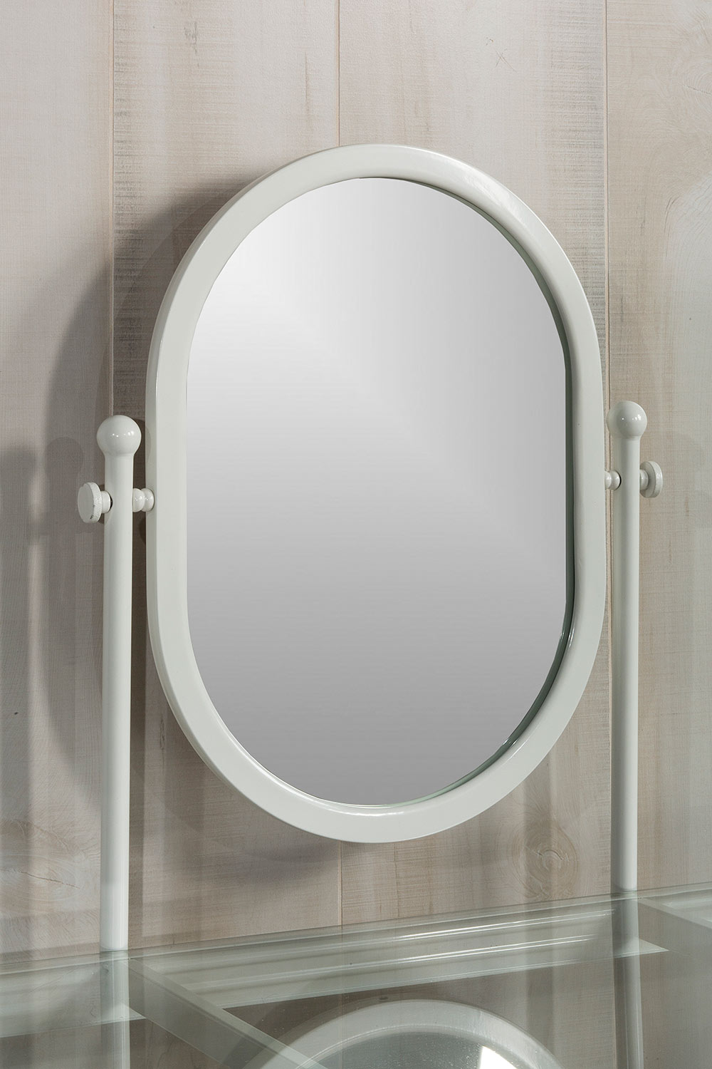 Hillsdale Cape May Vanity with Glass Top and Mirror - Matte White