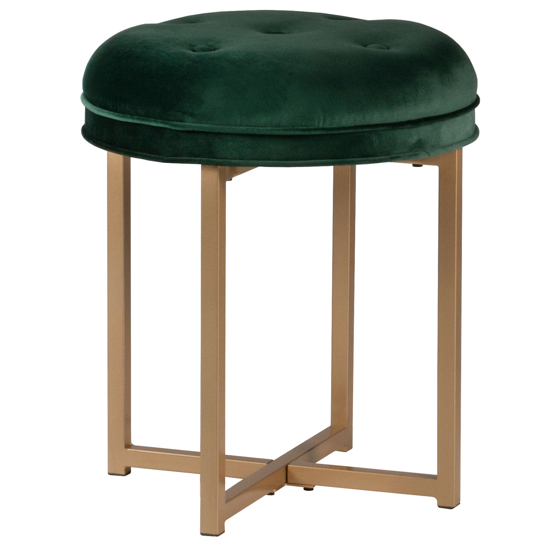 Hillsdale Maura Tufted Backless Metal Vanity Stool - Emerald Green Velvet