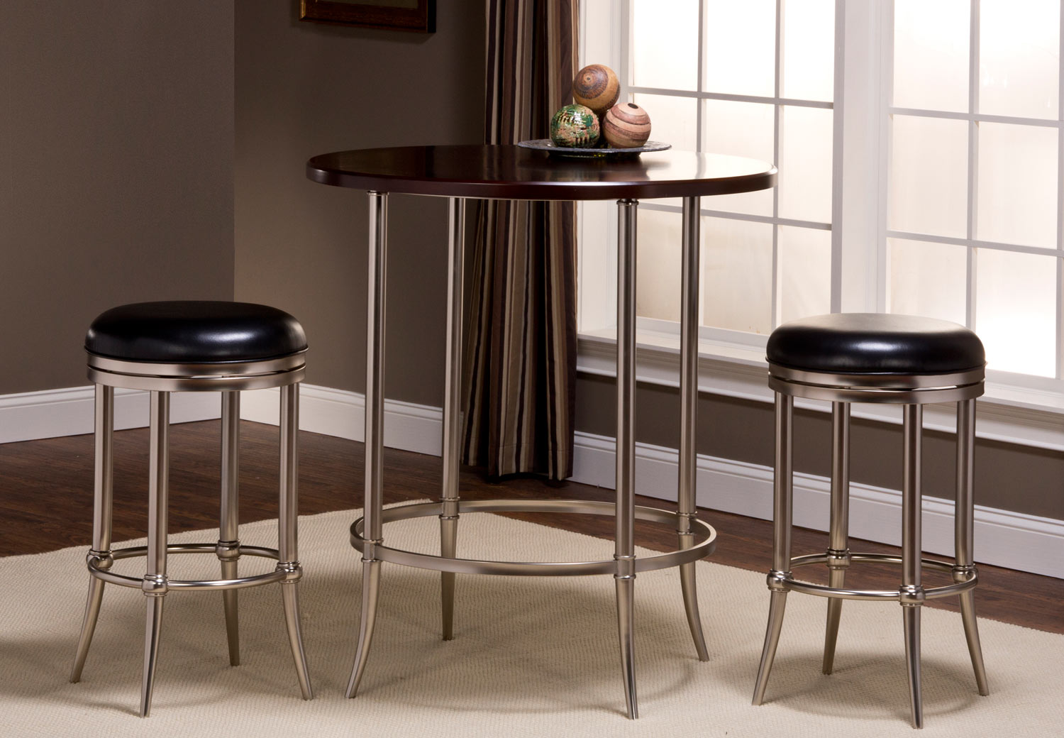 Hillsdale Maddox Bar Height Bistro Dining Set - Espresso/Dull Nickel with Cadman Backless Bar Stool