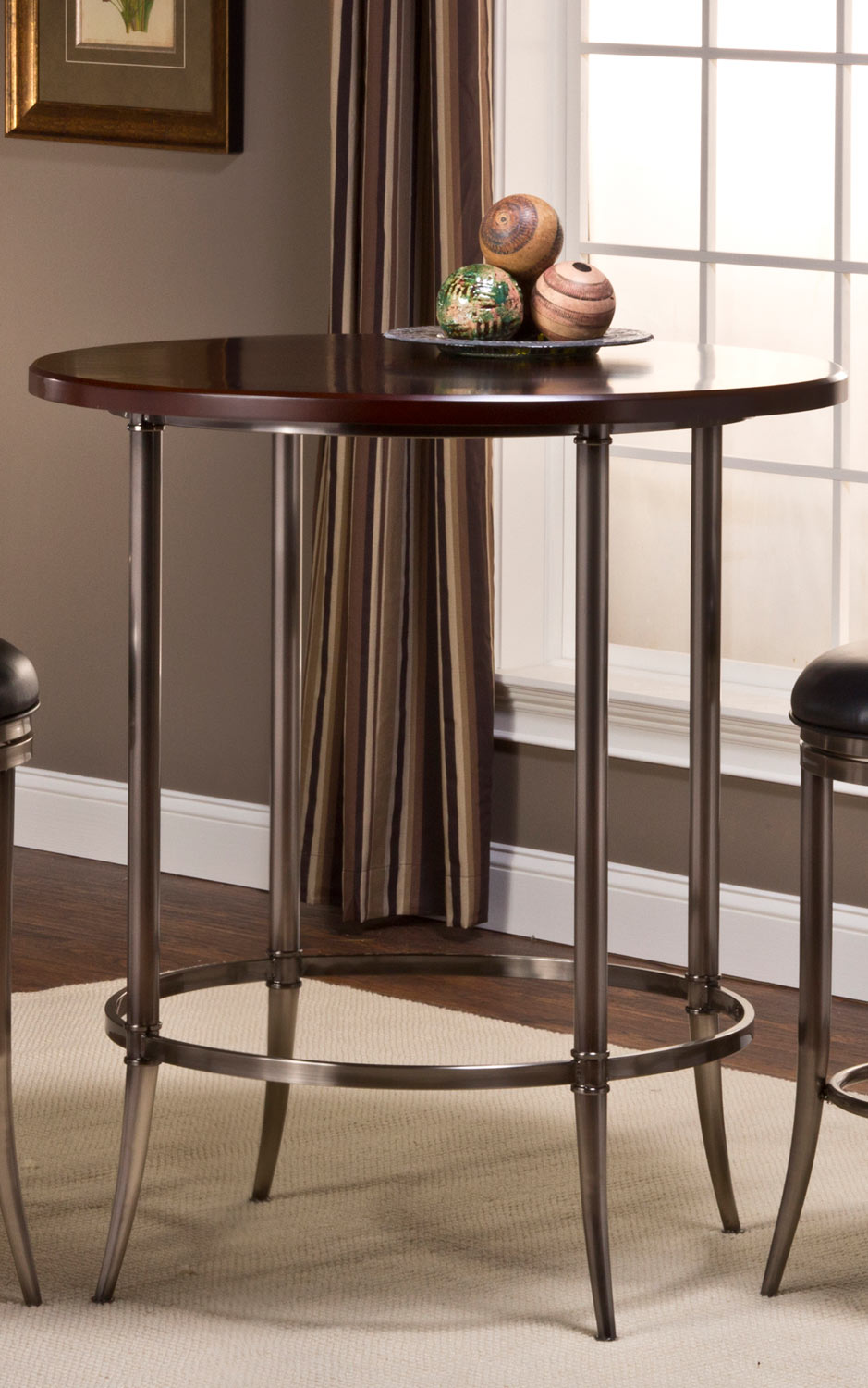 Hillsdale Maddox Bar Height Bistro Dining Set Espresso Antique Nickel With Portland Swivel Bar