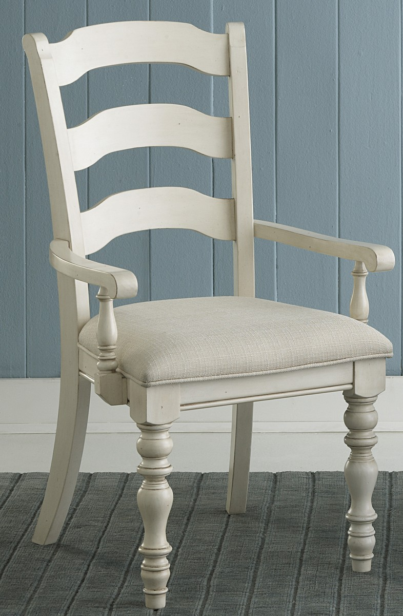 Hillsdale Pine Island Ladder Back Arm Chair - Old White - Ivory
