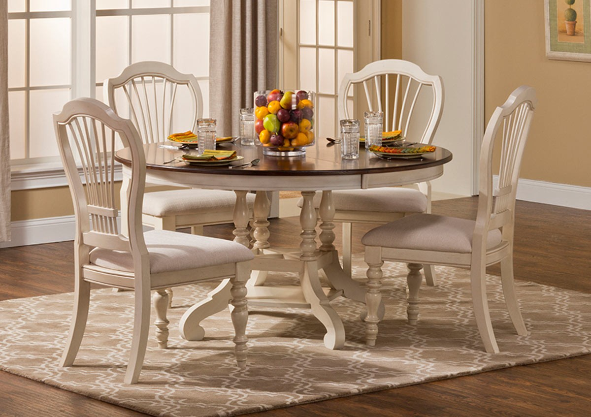 Hillsdale Pine Island 5PC Round Dining Set - Old White