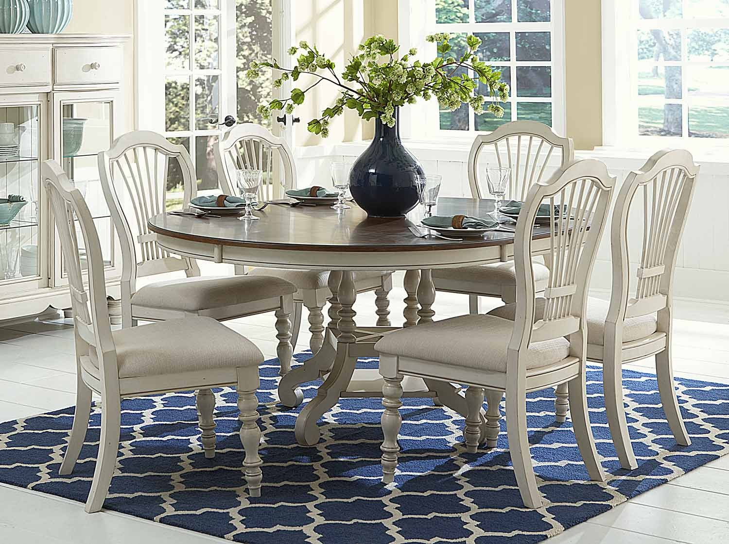 Hillsdale Pine Island 7PC Round Dining Set - Old White