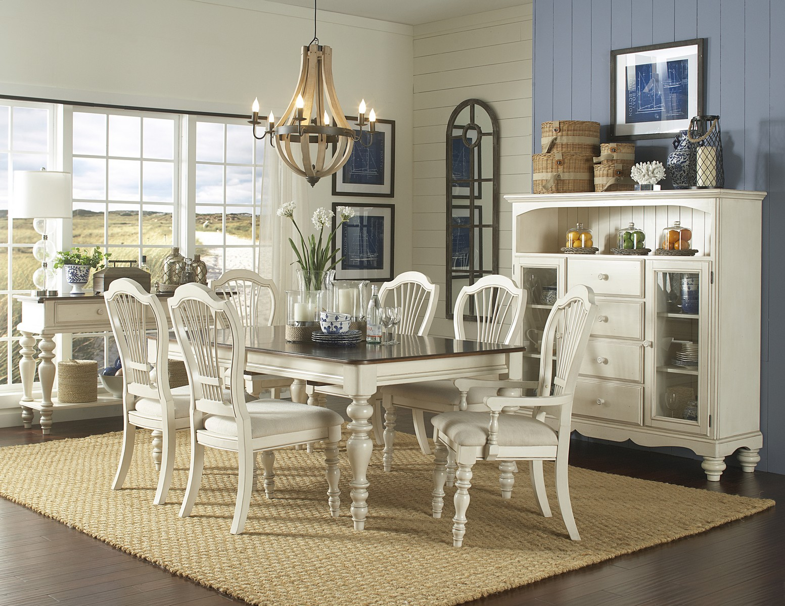 Hillsdale Pine Island 7 PC Dining Set with Wheat Back Chairs - Old White