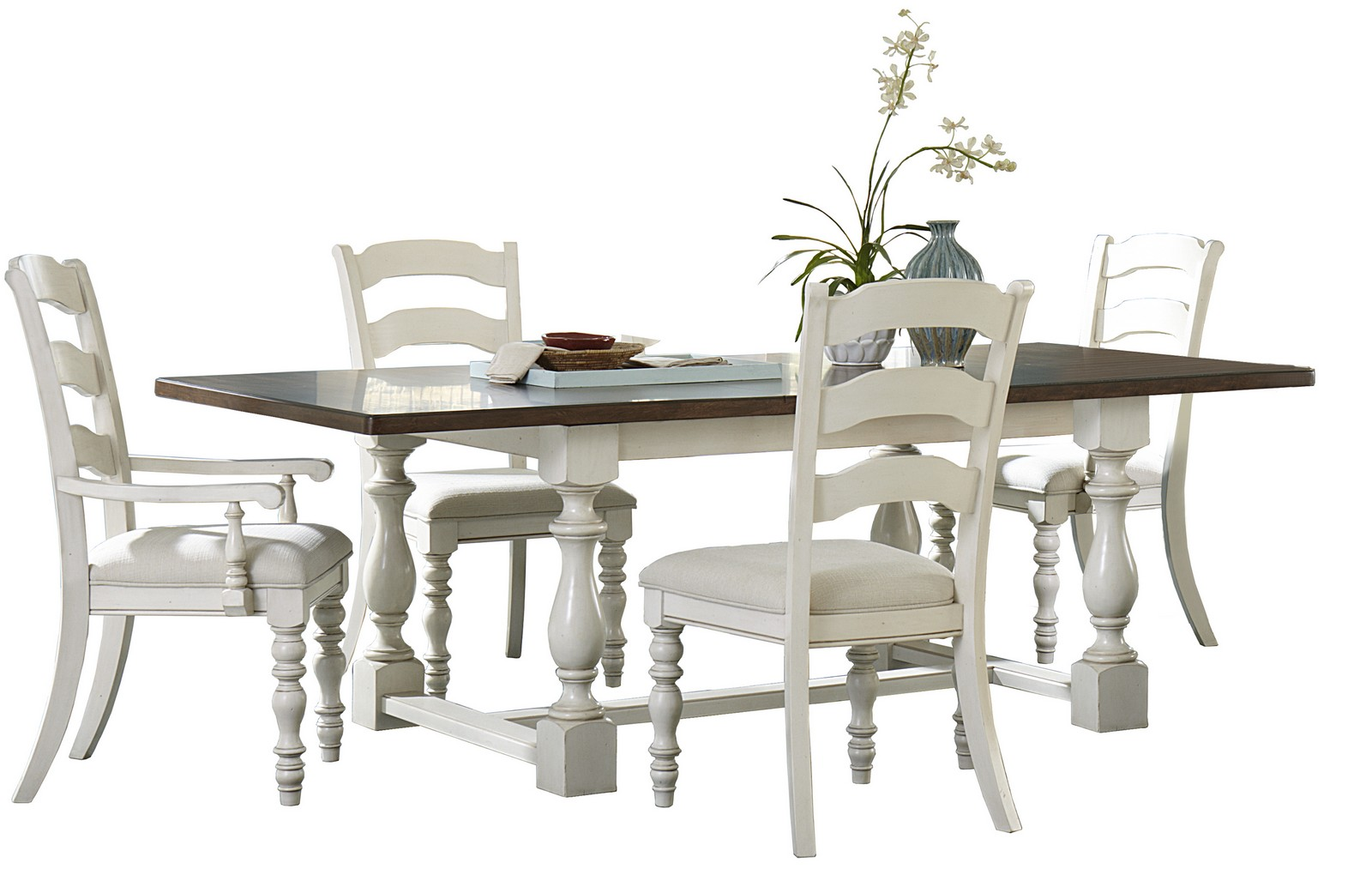 Hillsdale Pine Island 5 PC Trestle Dining Set with Ladder Back Chairs - Old White
