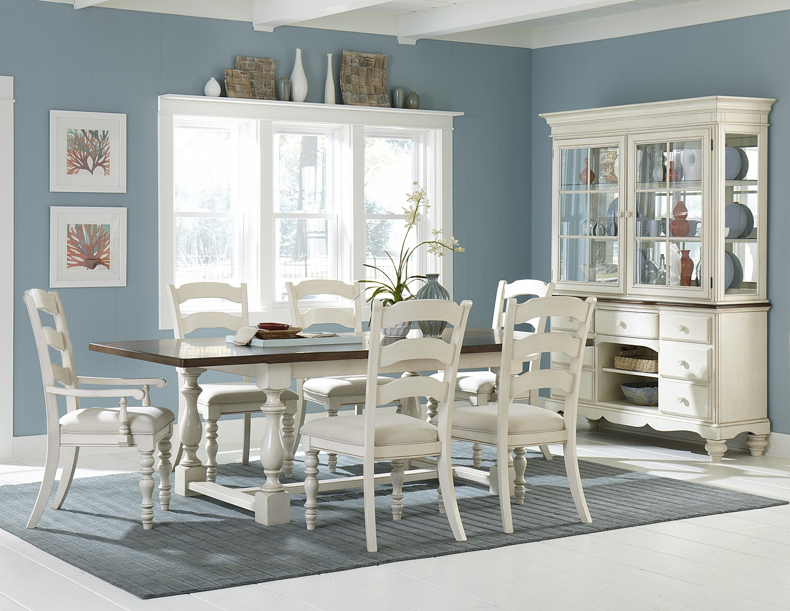 Hillsdale Pine Island 7 PC Trestle Dining Set with Ladder Back Chairs - Old White