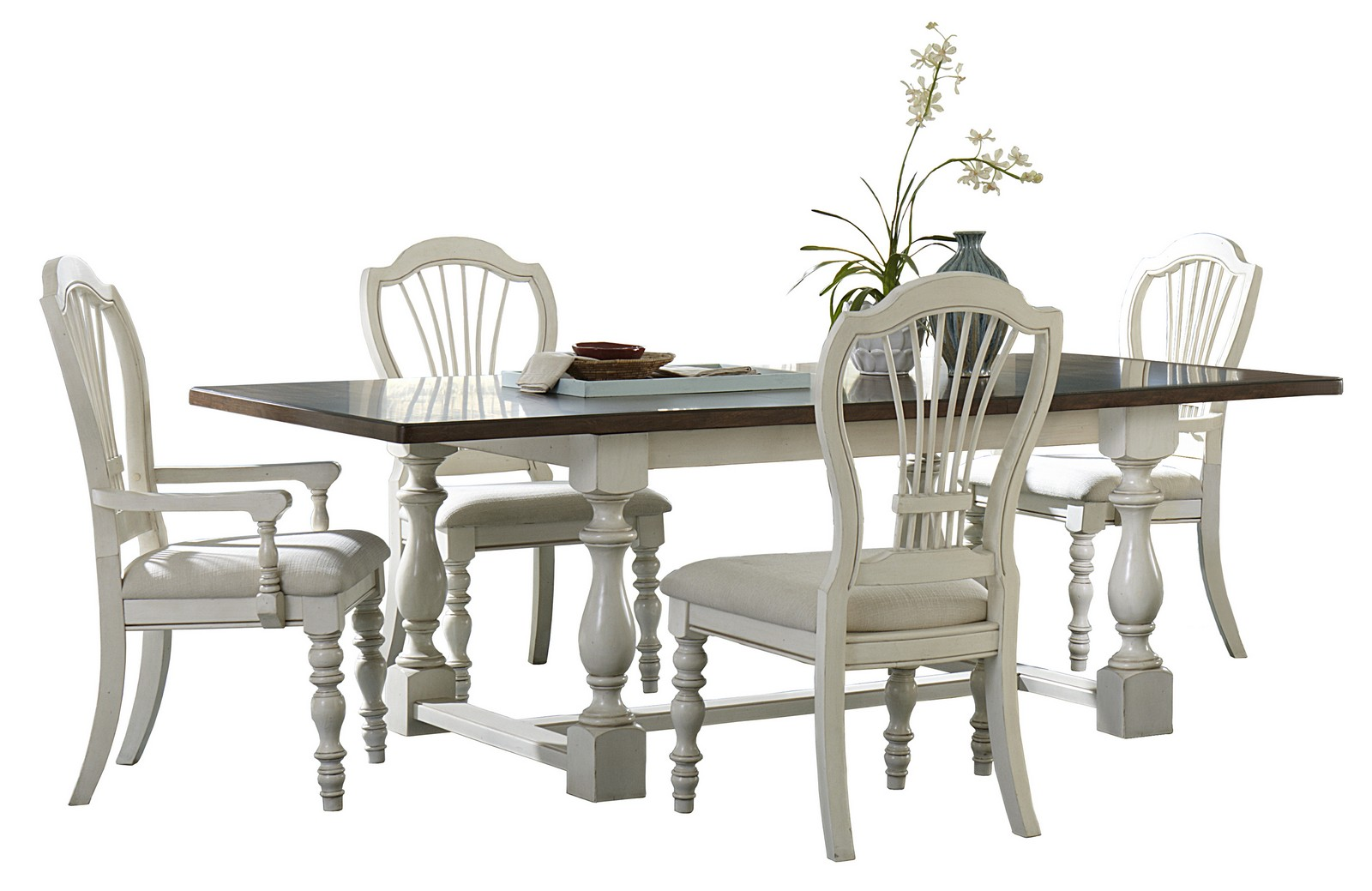 Hillsdale Pine Island 5 PC Trestle Dining Set with Wheat Back Chairs - Old White