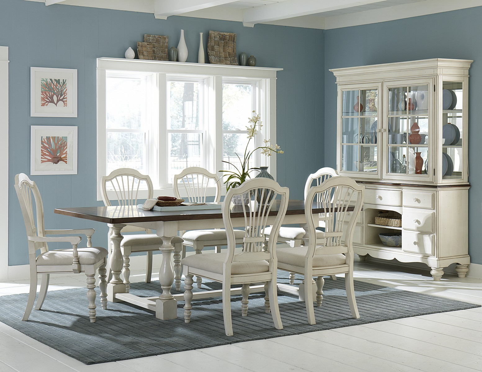 Hillsdale Pine Island 7 PC Trestle Dining Set with Wheat Back Chairs - Old White