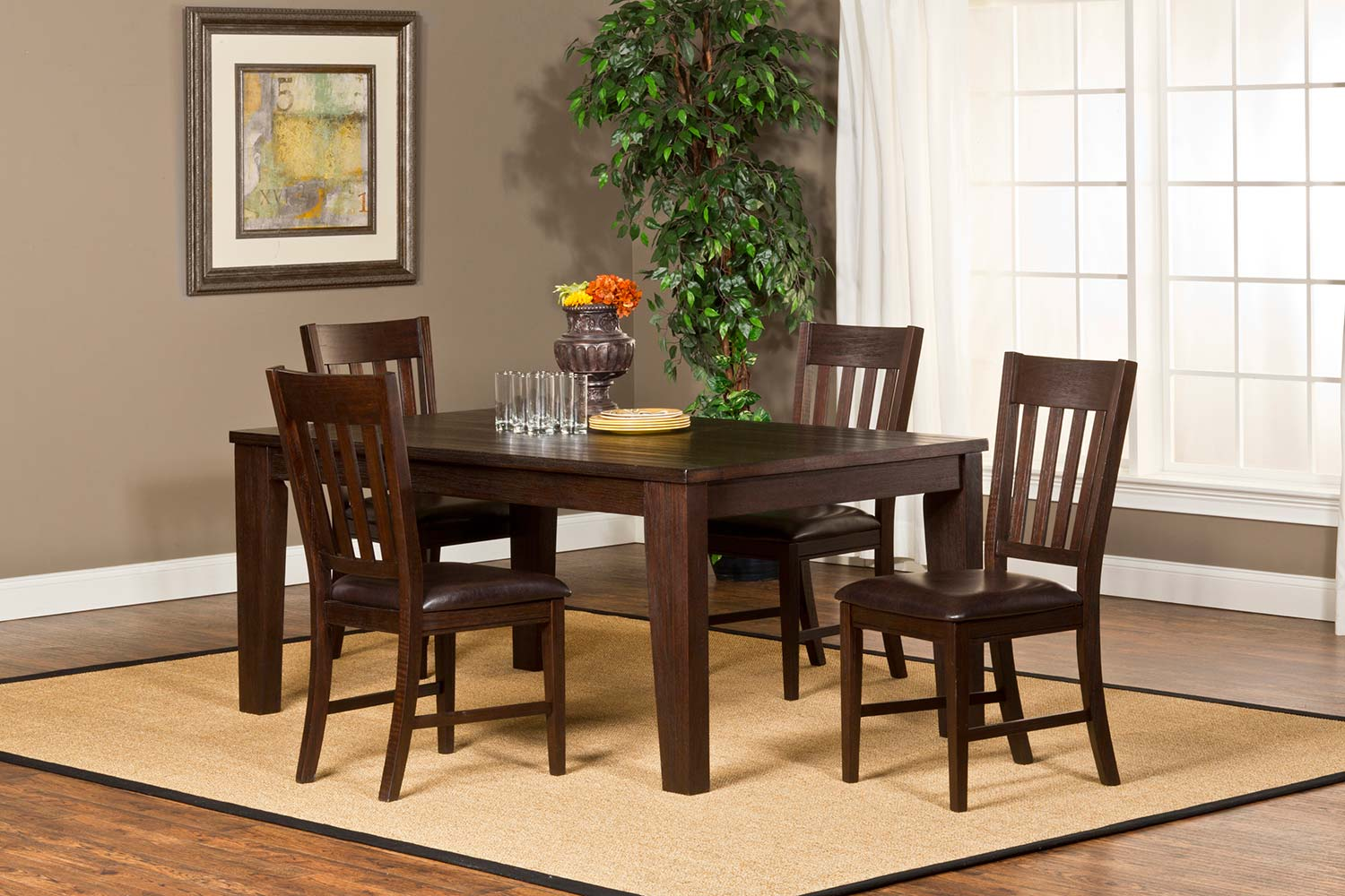 Hillsdale Brooklawn 5-Piece Dining Set - Smoke Brown/Dark Brown Vinyl