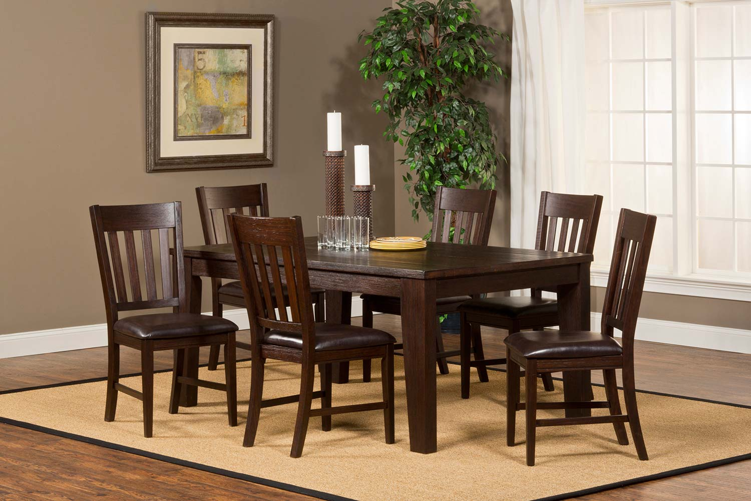 Hillsdale Brooklawn 7-Piece Dining Set - Smoke Brown/Dark Brown Vinyl