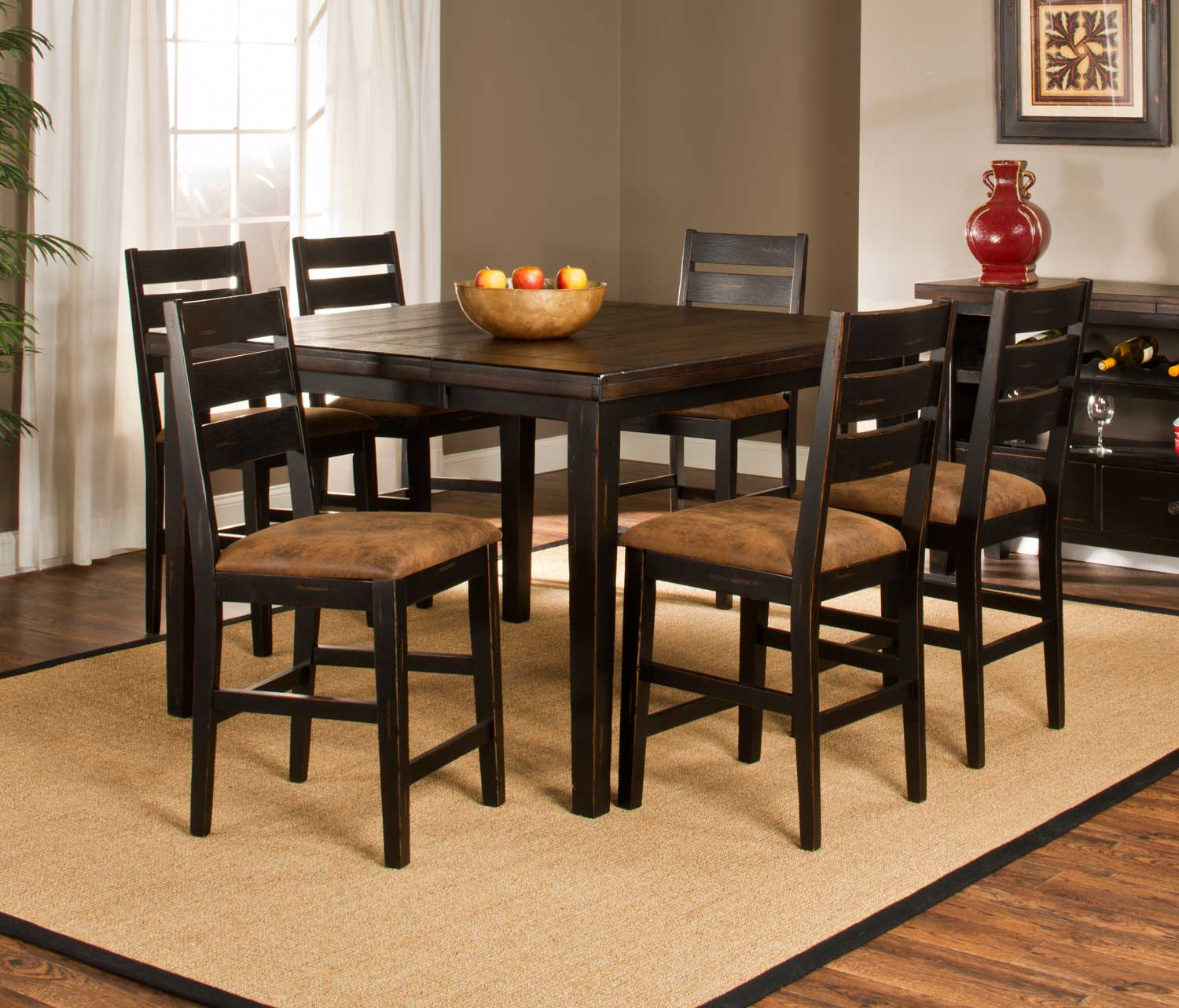 Hillsdale Killarney Counter Height 7 Piece Dining Set - Black/ Antique Brown