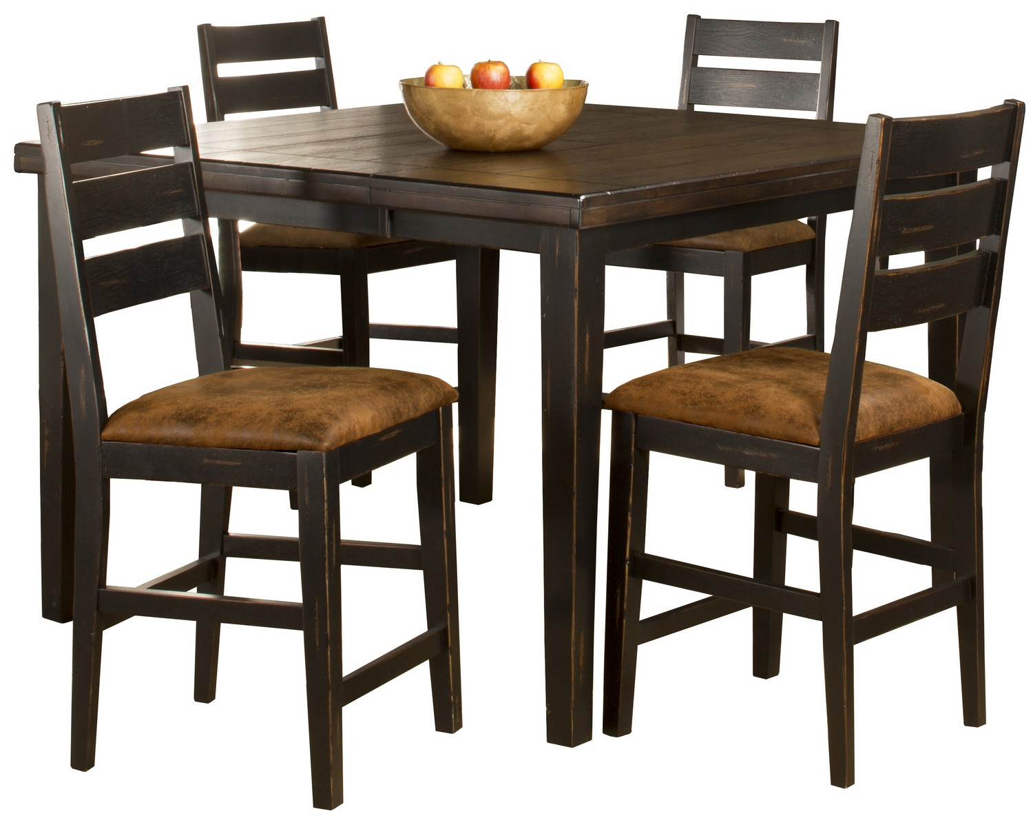 Hillsdale Killarney 5-Piece Counter Height Dining with Ladder Back Stools - Black/ Antique Brown