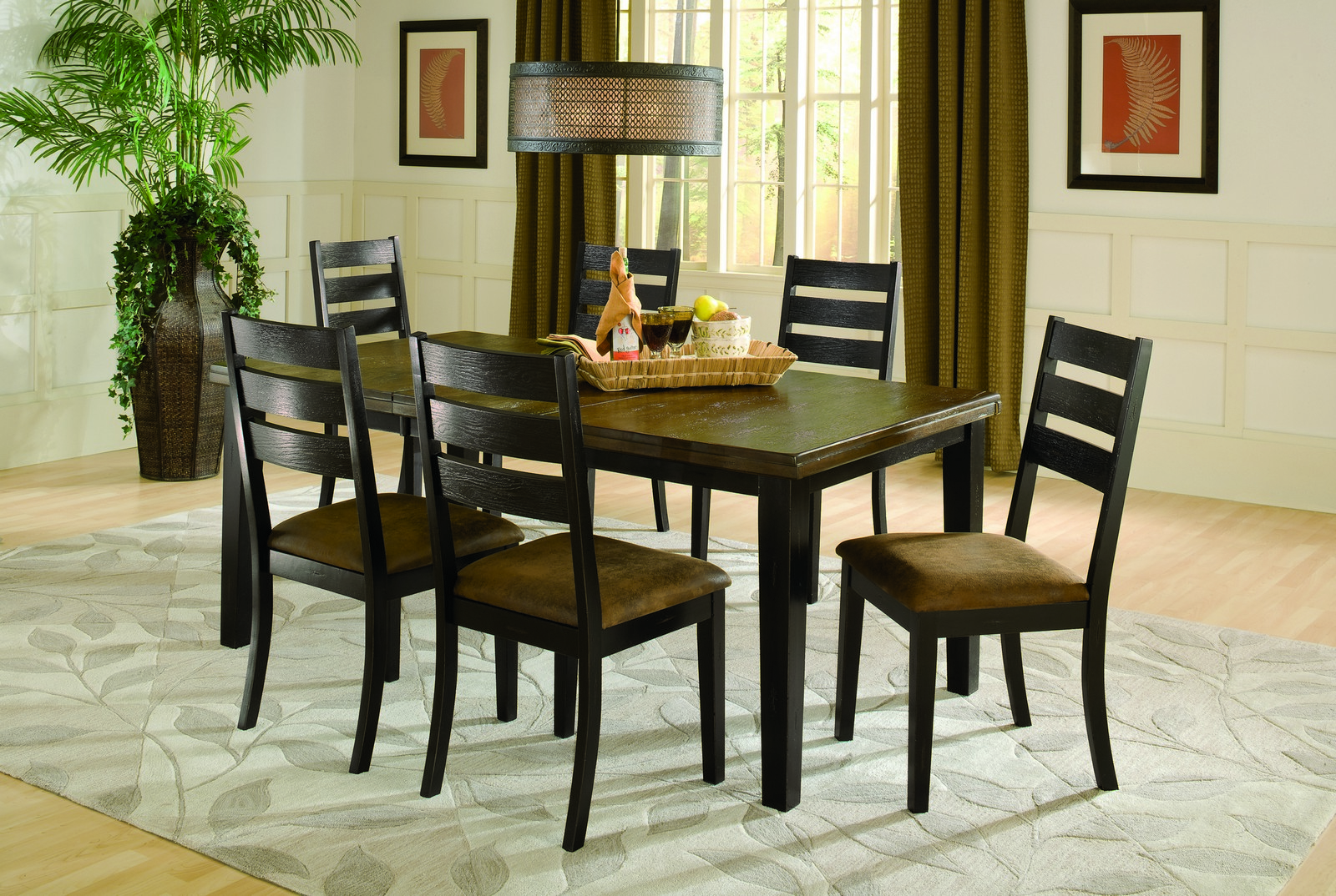 Hillsdale Killarney 7 Pc Dining Set - Black/ Antique Brown