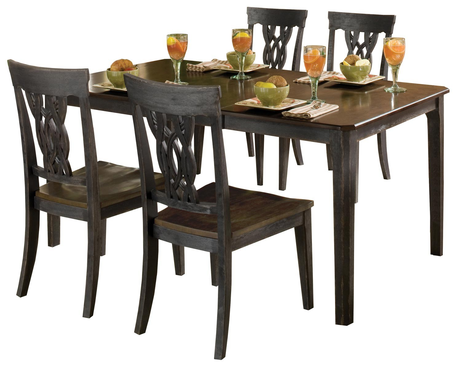 Hillsdale Lafayette 5 PC Dining Set - Black Gray with Walnut