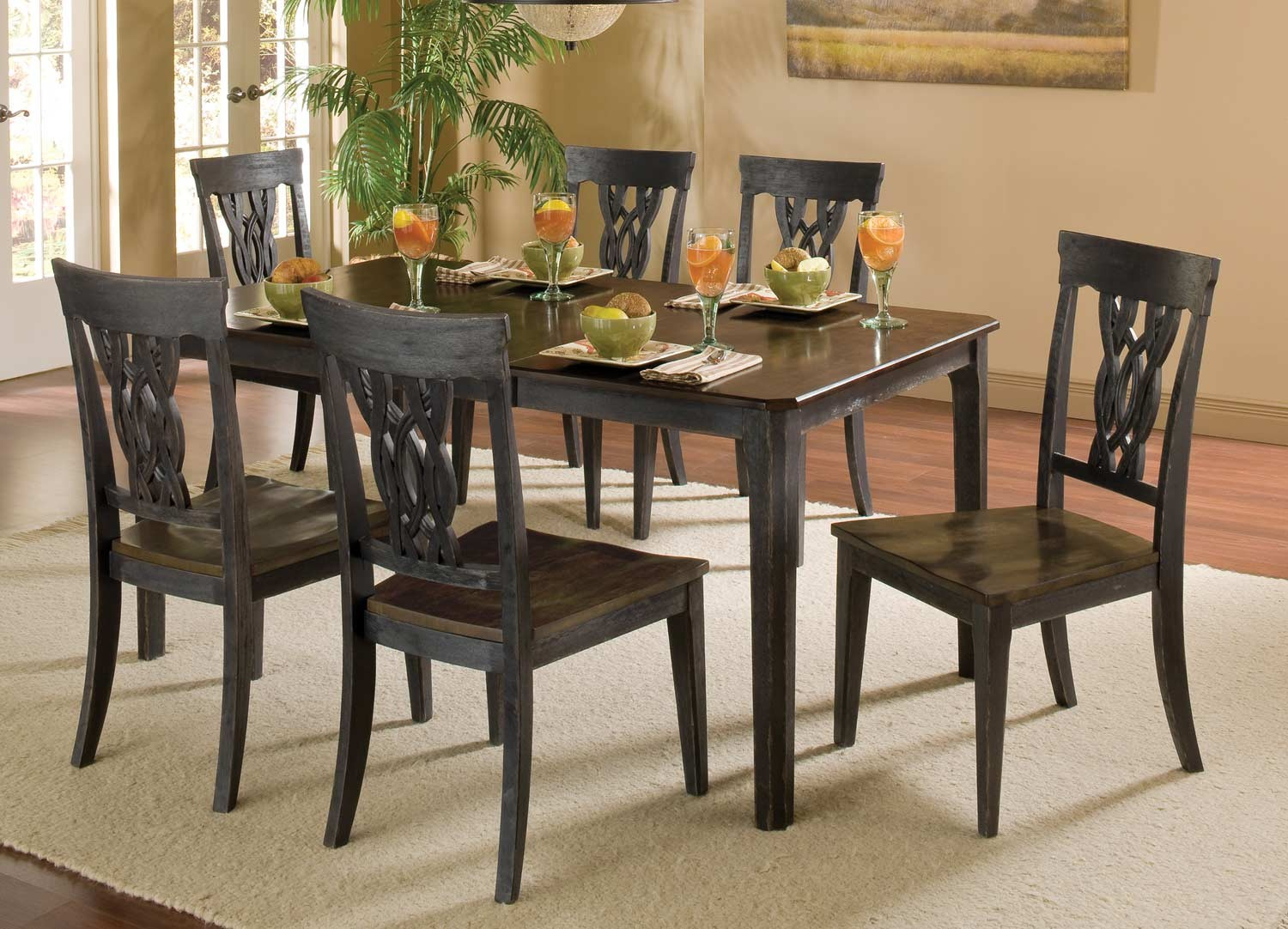 Hillsdale Lafayette 7 PC Dining Set - Black Gray with Walnut