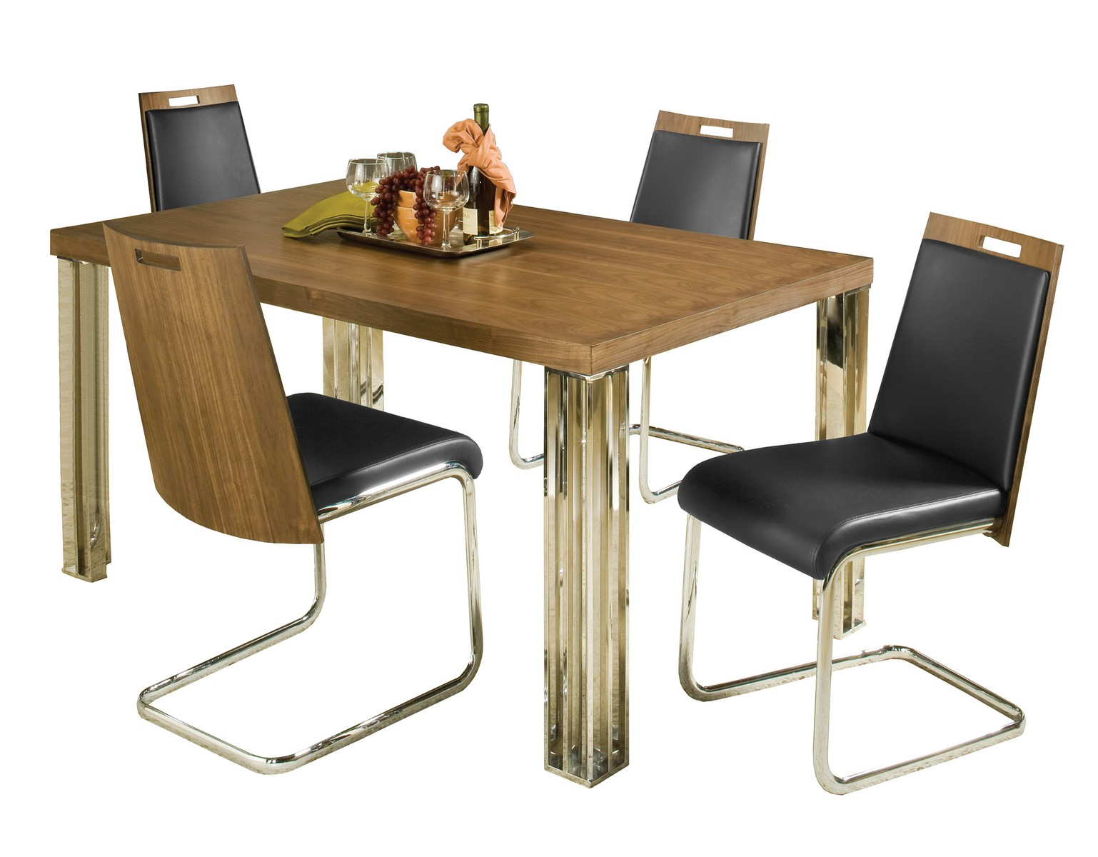 Hillsdale Trivoli 5 Pc Dining Set - Walnut/ Stainless Steel