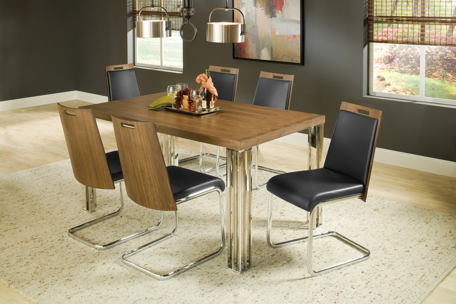 Hillsdale Trivoli 7 Pc Dining Set - Walnut/ Stainless Steel