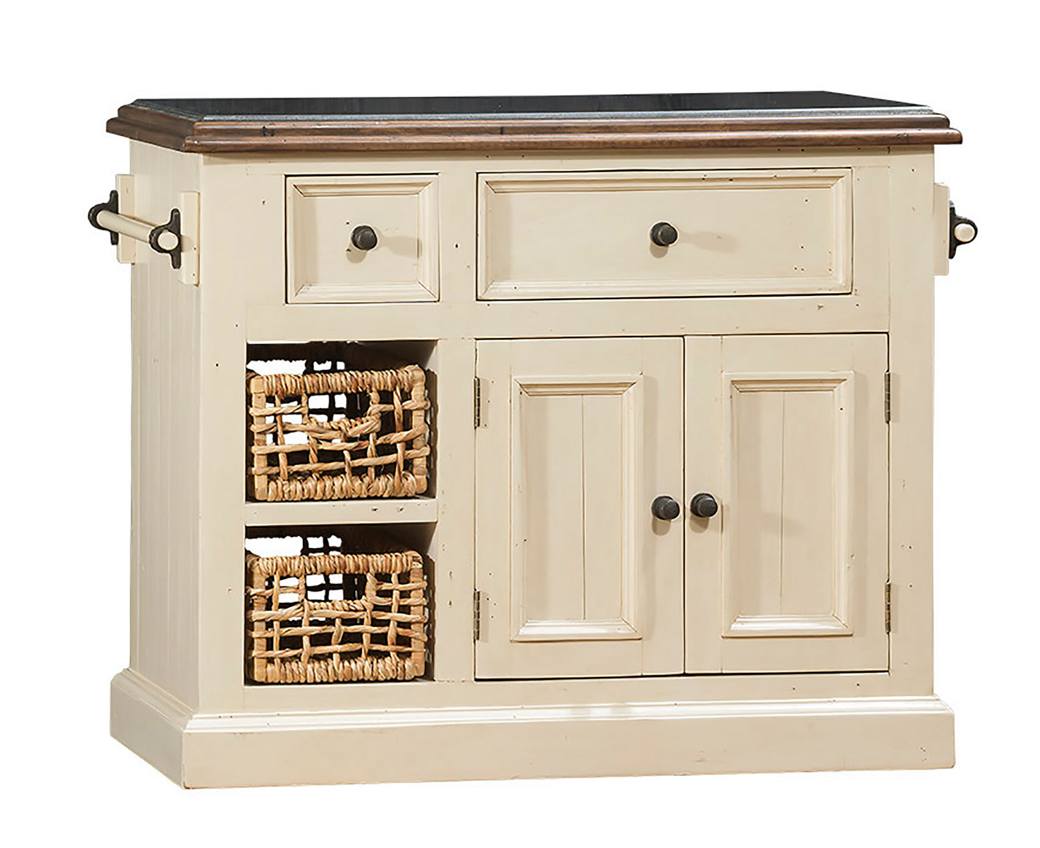 Hillsdale Tuscan Retreat Small Granite Top Kitchen Island with 2 Baskets - Country White