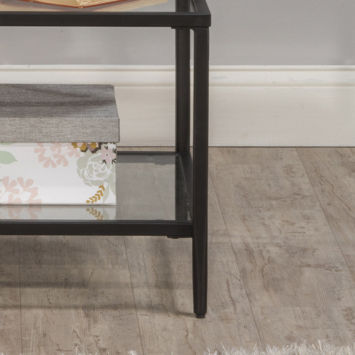Hillsdale Harlan 3-Tier End Table with 2-Large and 1-Small Glass Shelves - Black