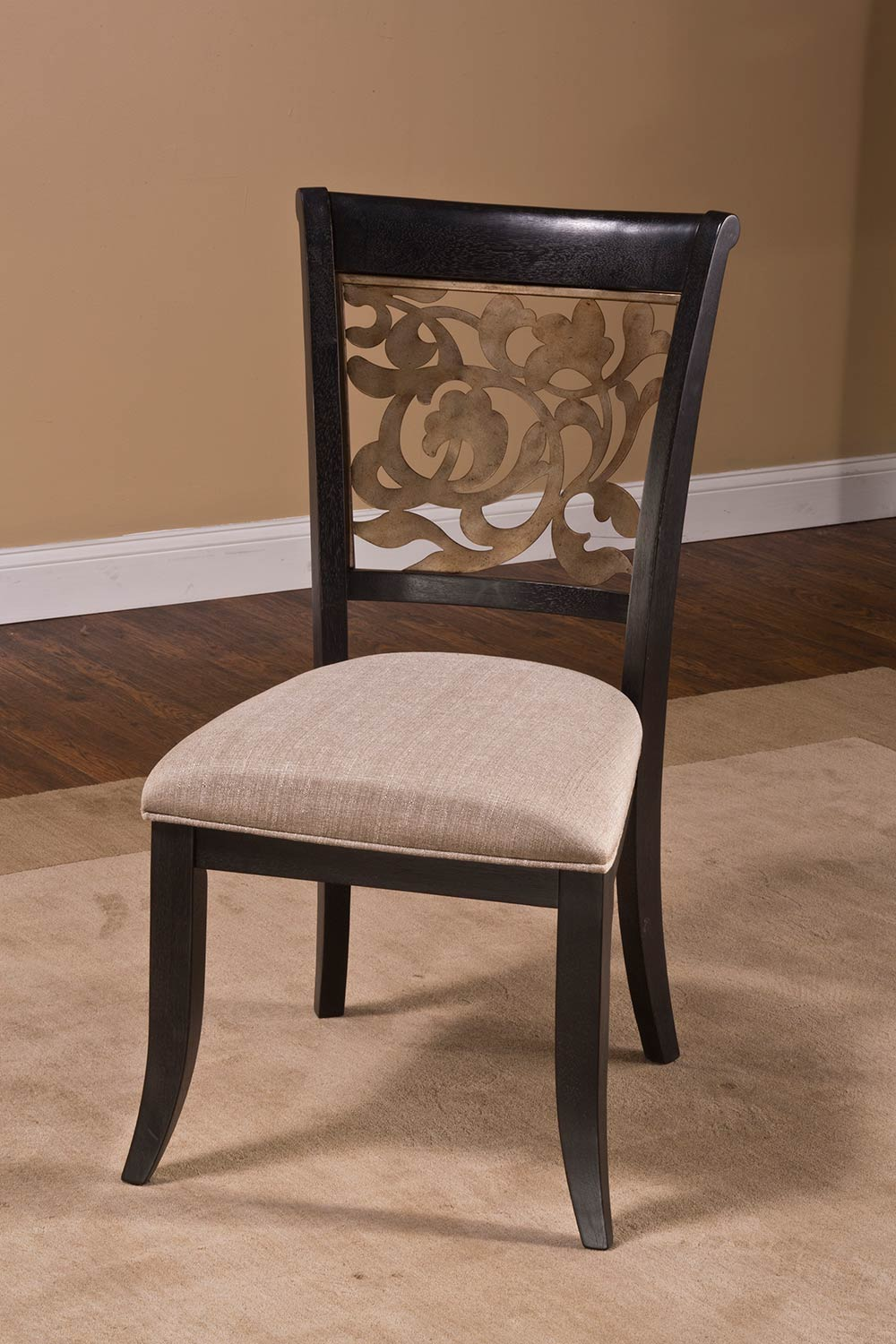 Hillsdale Bennington Dining Chair - Black Distressed Gray - Putty Fabric