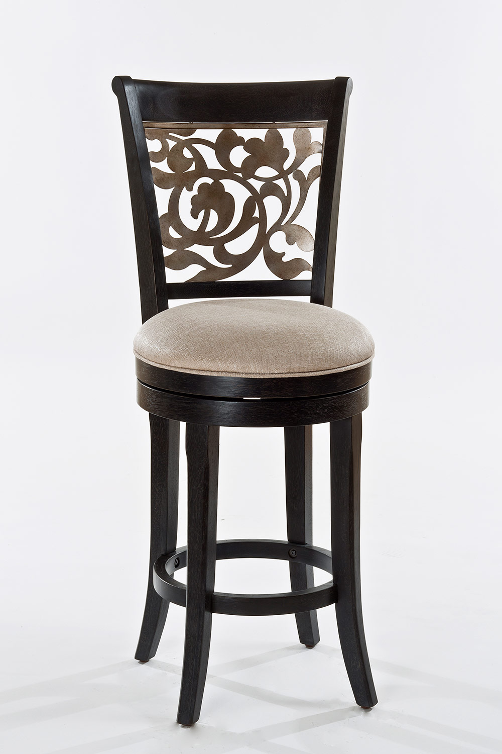 Hillsdale Bennington Swivel Counter Stool - Black Distressed Gray - Putty Fabric