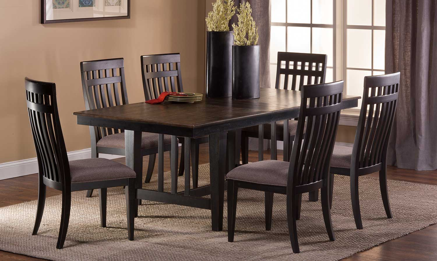 Hillsdale Copeland 7 PC Dining Set - Distressed Black - Woven Gray Fabric