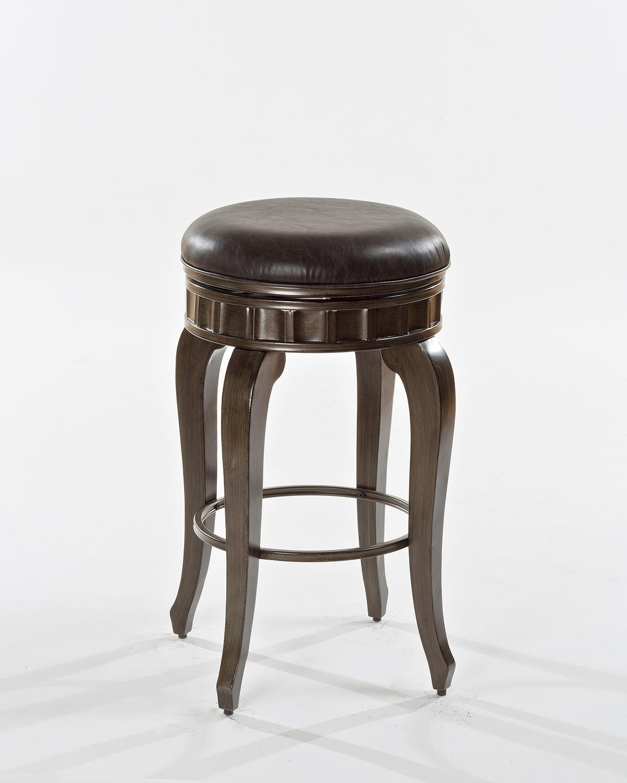 hillsdale devon backless swivel bar stool antique brushed pewter charcoal faux leather hd. Black Bedroom Furniture Sets. Home Design Ideas
