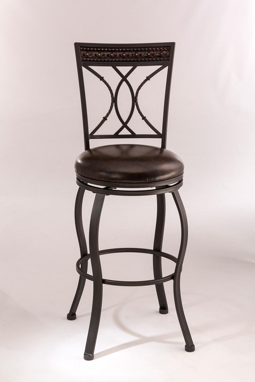 Hillsdale Kirkham Swivel Bar Stool - Black Silver - Dark Brown Leatherette