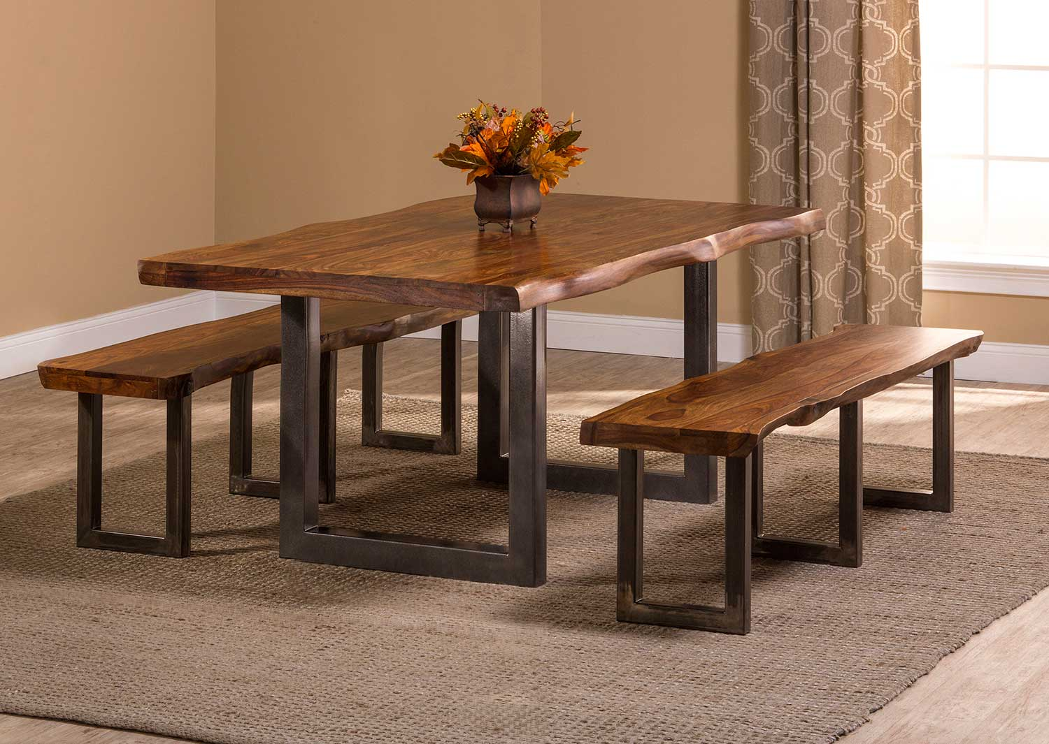 Hillsdale Emerson 3-Piece Rectangle Dining Set - Natural Sheesham/Gray Coat